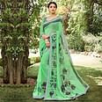 Green Floral Digital Printed Saree