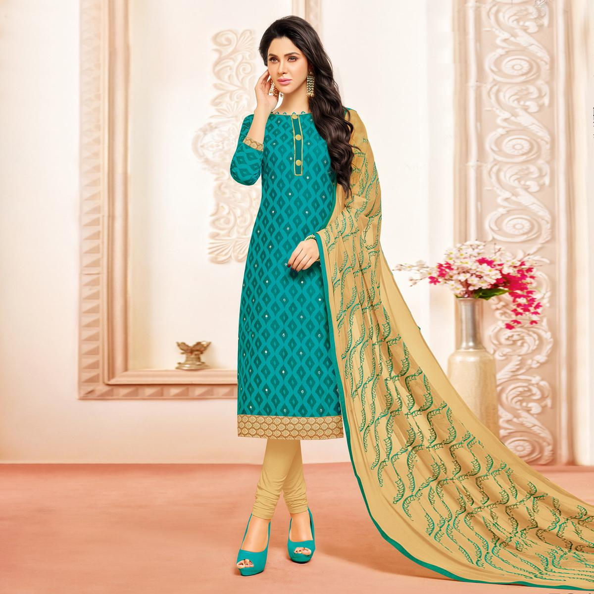 Turquoise Colored Designer Embroidered Cotton Dress Material