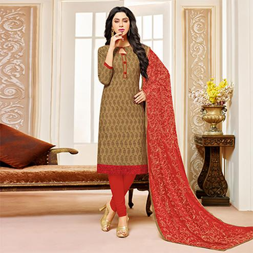 Dark Beige Colored Designer Embroidered Cotton Dress Material