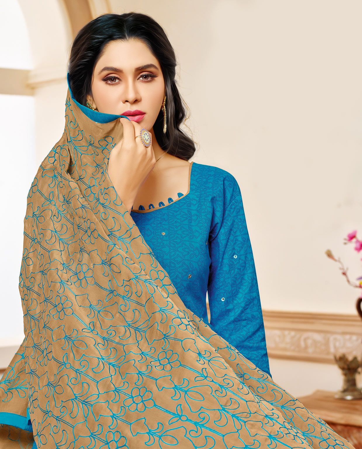 Blue Colored Designer Embroidered Cotton Dress Material
