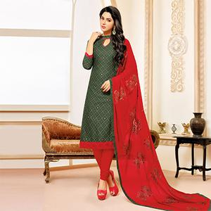 Olive Green Colored Designer Embroidered Cotton Dress Material