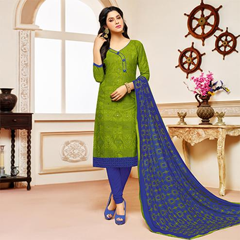 Parrot Green Colored Designer Embroidered Cotton Dress Material