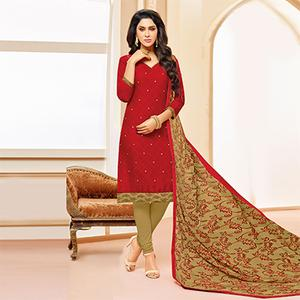 Red Colored Designer Embroidered Cotton Dress Material