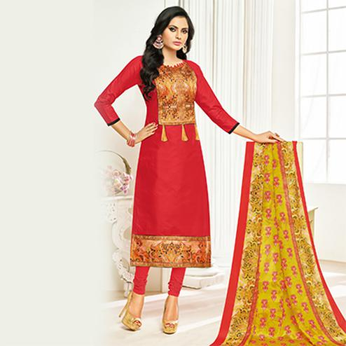 Flamboyant Red Digital Printed Glaze Cotton Dress Material
