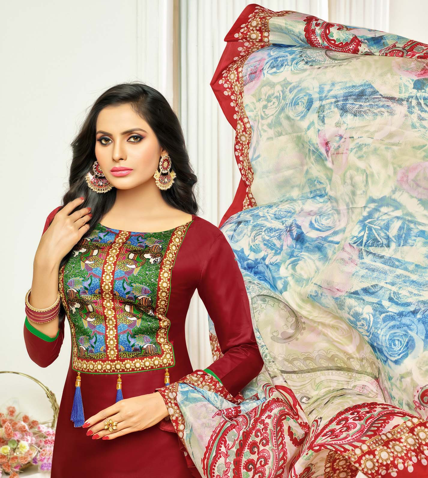 Mesmerising Maroon Digital Printed Glaze Cotton Dress Material
