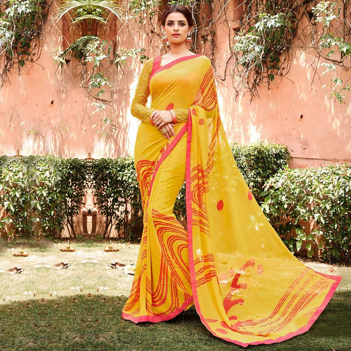 Yellow Casual Georgette Printed Saree