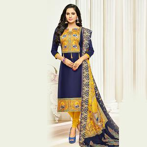 Marvellous Navy Blue Digital Printed Glaze Cotton Dress Material