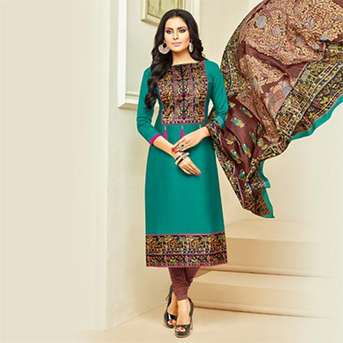 Sizzling Turquoise Digital Printed Glaze Cotton Dress Material