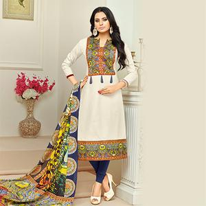 Appealing White Digital Printed Glaze Cotton Dress Material