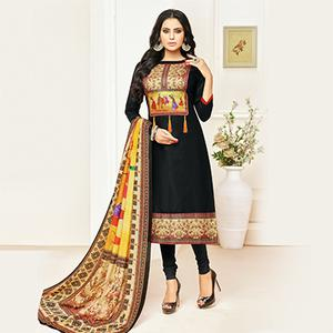 Arresting Black Digital Printed Glaze Cotton Dress Material