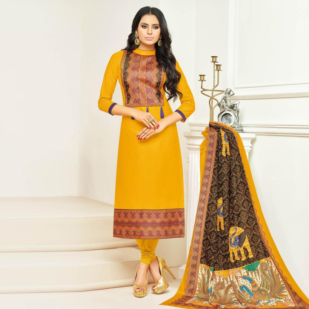 Gorgeous Yellow Digital Printed Glaze Cotton Dress Material