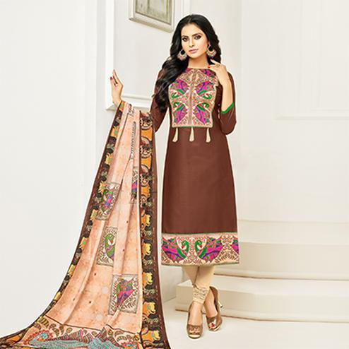 Desirable Brown Digital Printed Glaze Cotton Dress Material