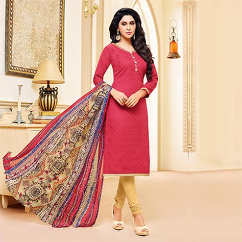 Pink Colored Designer Printed-Embroidered Jacquard Cotton Dress Material