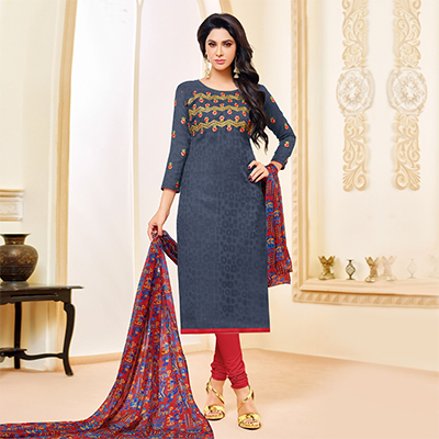 Grey Colored Designer Printed-Embroidered Jacquard Cotton Dress Material