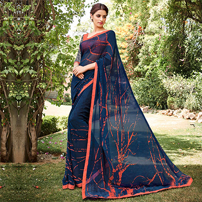 Blue Georgette Digital Printed Saree