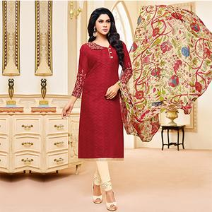 Maroon Colored Designer Printed-Embroidered Jacquard Cotton Dress Material