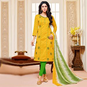 Yellow Colored Designer Printed-Embroidered Jacquard Cotton Dress Material