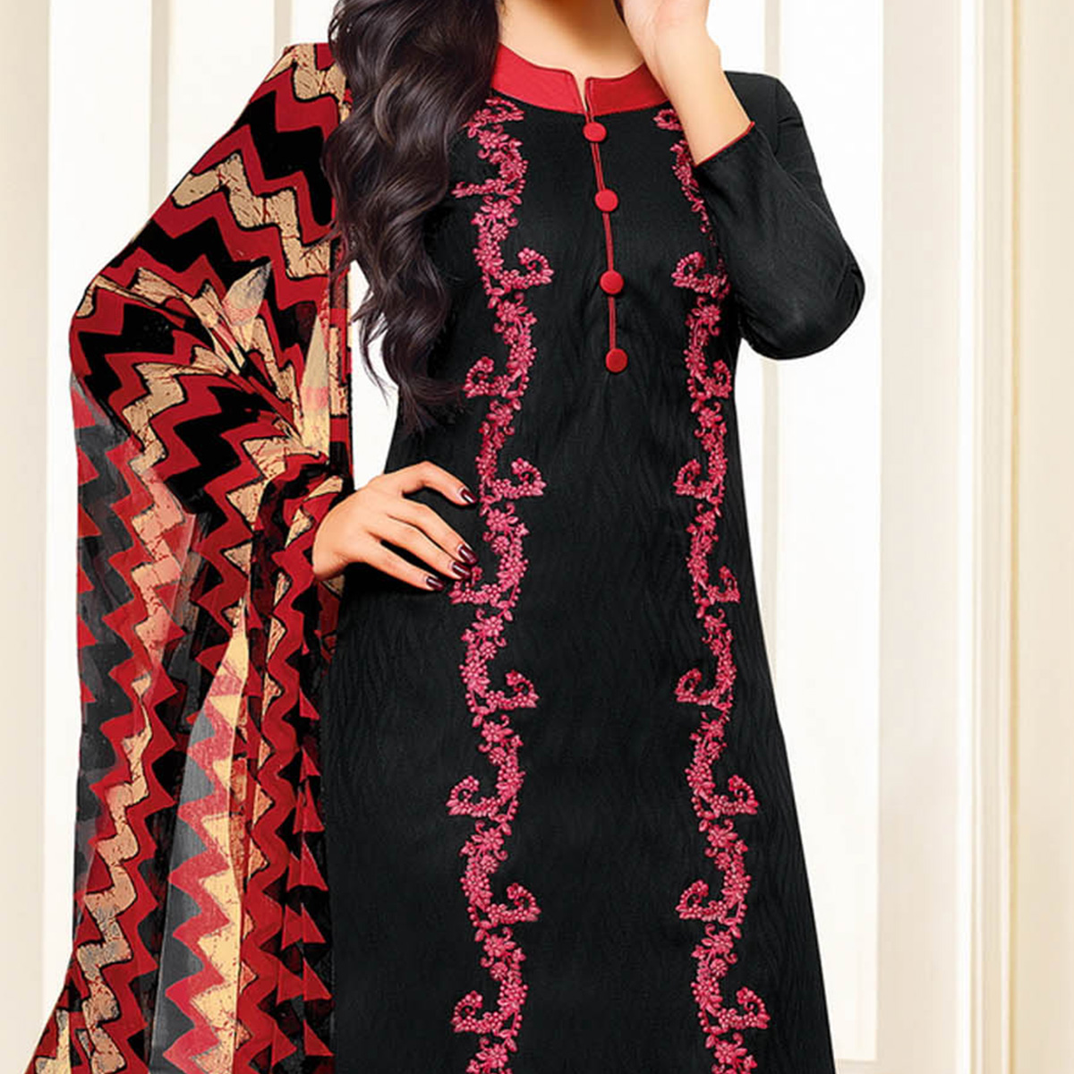 Black Colored Designer Printed-Embroidered Jacquard Cotton Dress Material