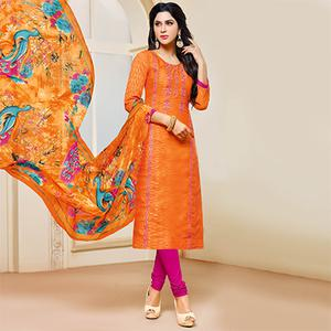 Orange Colored Designer Printed-Embroidered Jacquard Cotton Dress Material