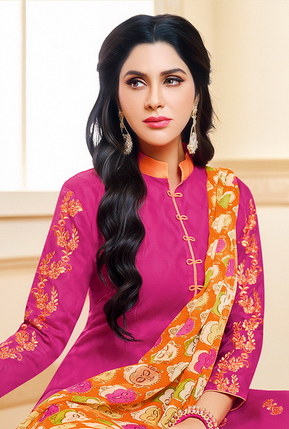 Dark Pink Colored Designer Printed-Embroidered Jacquard Cotton Dress Material