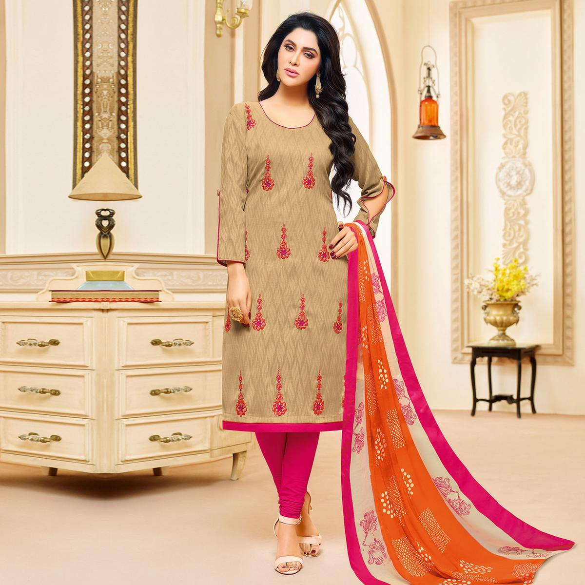Beige Colored Designer Printed-Embroidered Jacquard Cotton Dress Material