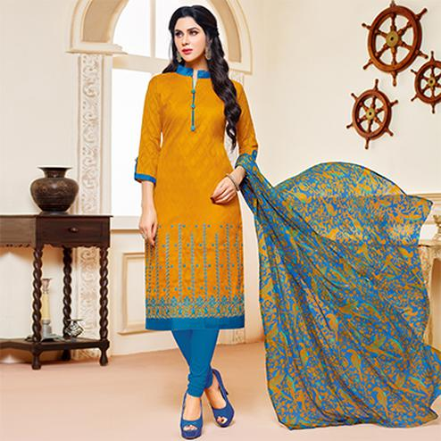 Mustard Yellow Colored Designer Printed-Embroidered Jacquard Cotton Dress Material