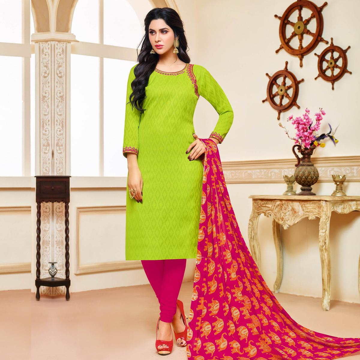 Light Green Colored Designer Printed-Embroidered Jacquard Cotton Dress Material