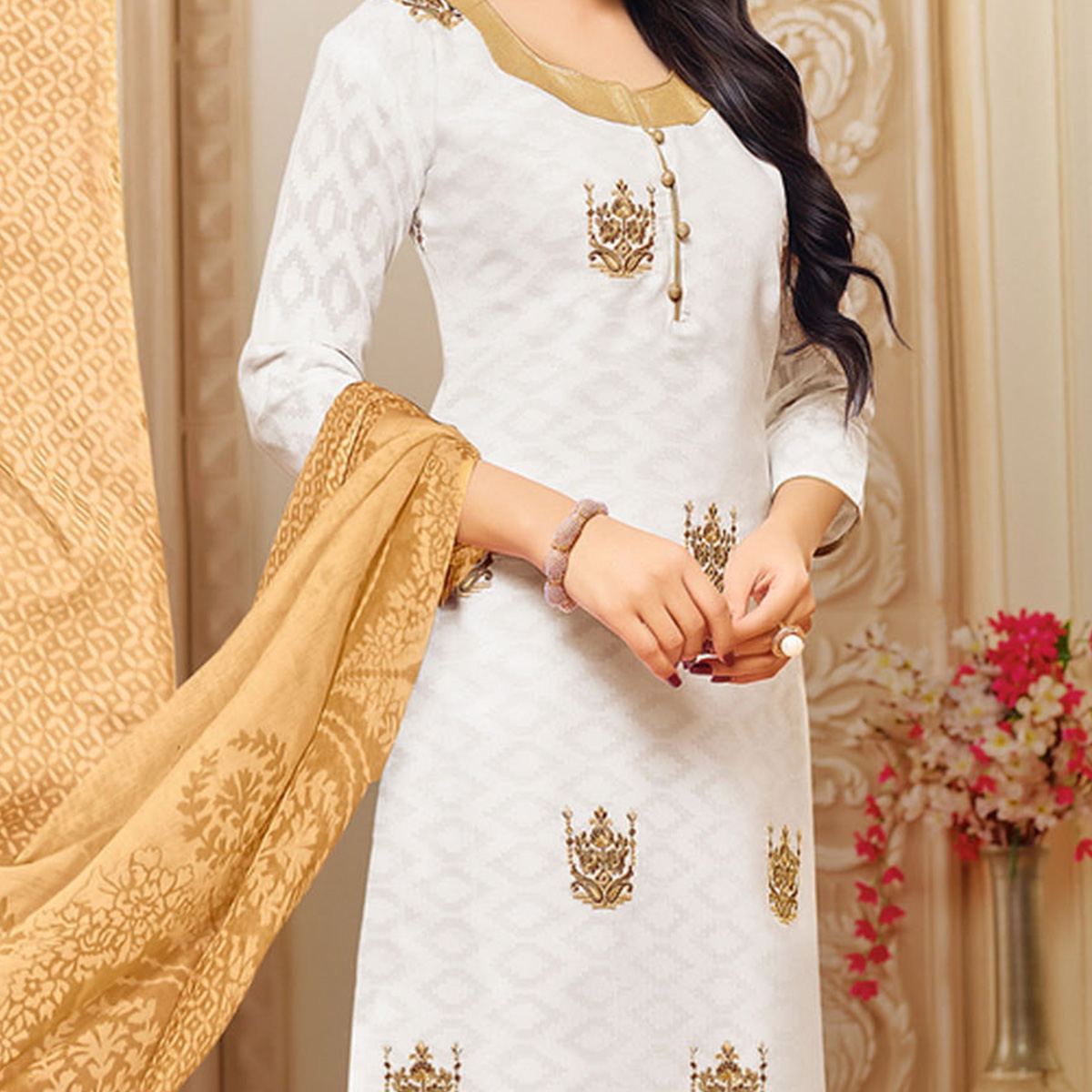 White Colored Designer Printed-Embroidered Jacquard Cotton Dress Material