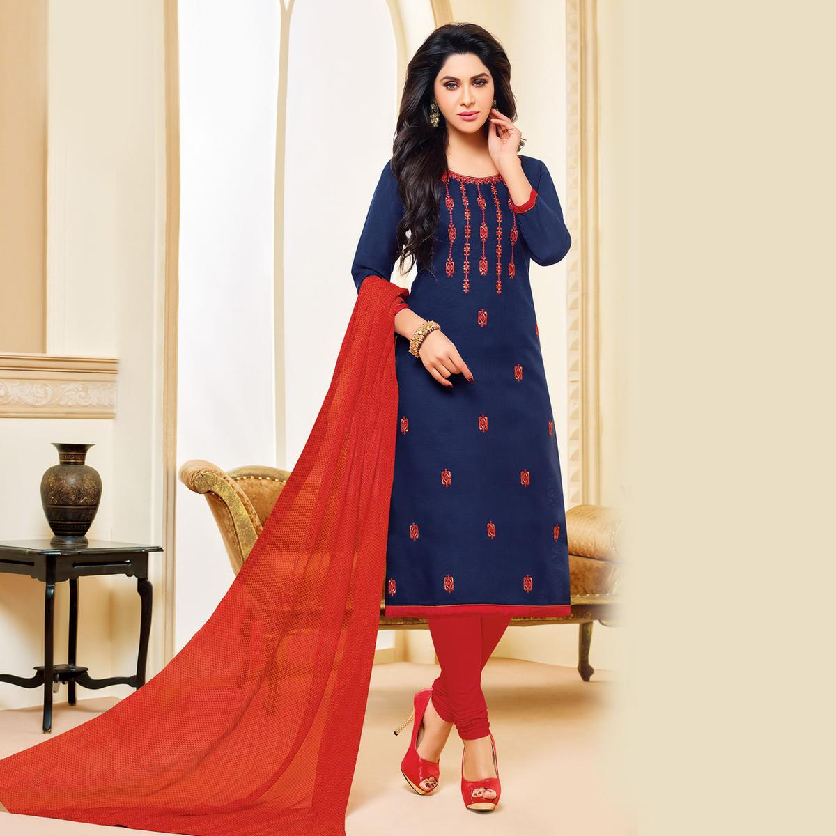 Blue Colored Designer Printed-Embroidered Jacquard Cotton Dress Material