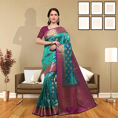 Rich Teal Colored Festive Wear Raw Silk Saree