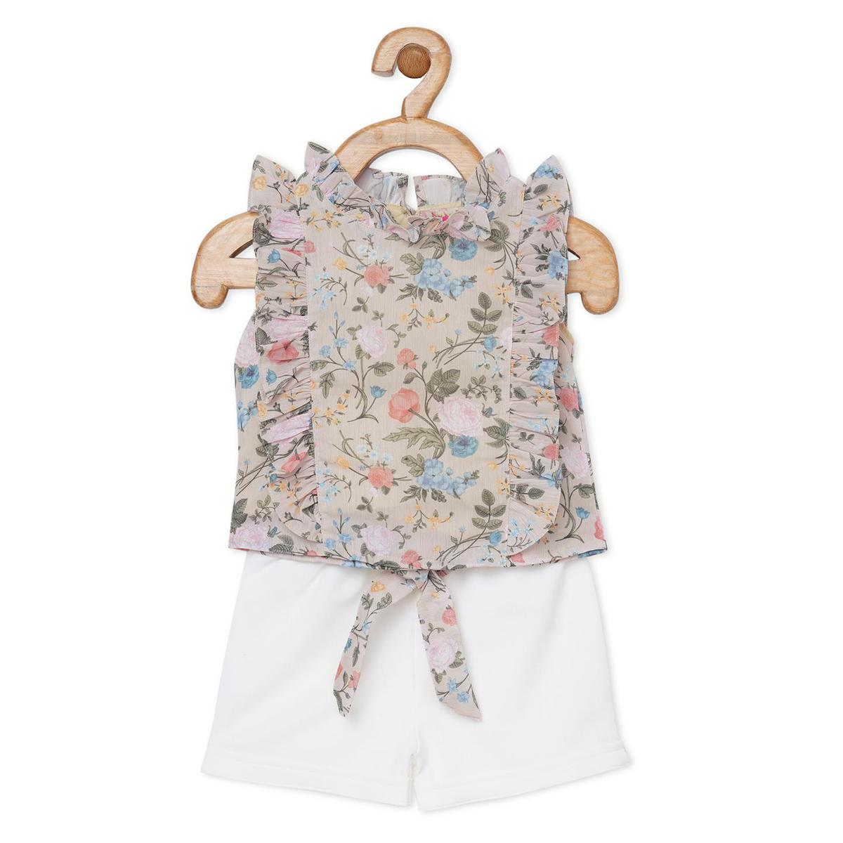 Powderfly - Day Lily Soft Georgette Shorts And Top Set Fawn