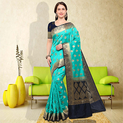 Adorable Aqua Blue Colored Festive Wear Raw Silk Saree