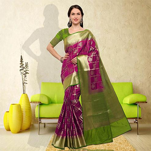 Arresting Magenta-Green Colored Festive Wear Raw Silk Saree