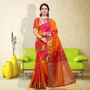 Sizzling Yellow-Pink Colored Festive Wear Raw Silk Saree