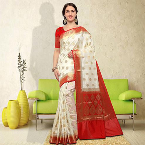 Ravishing White-Red Colored Festive Wear Raw Silk Saree