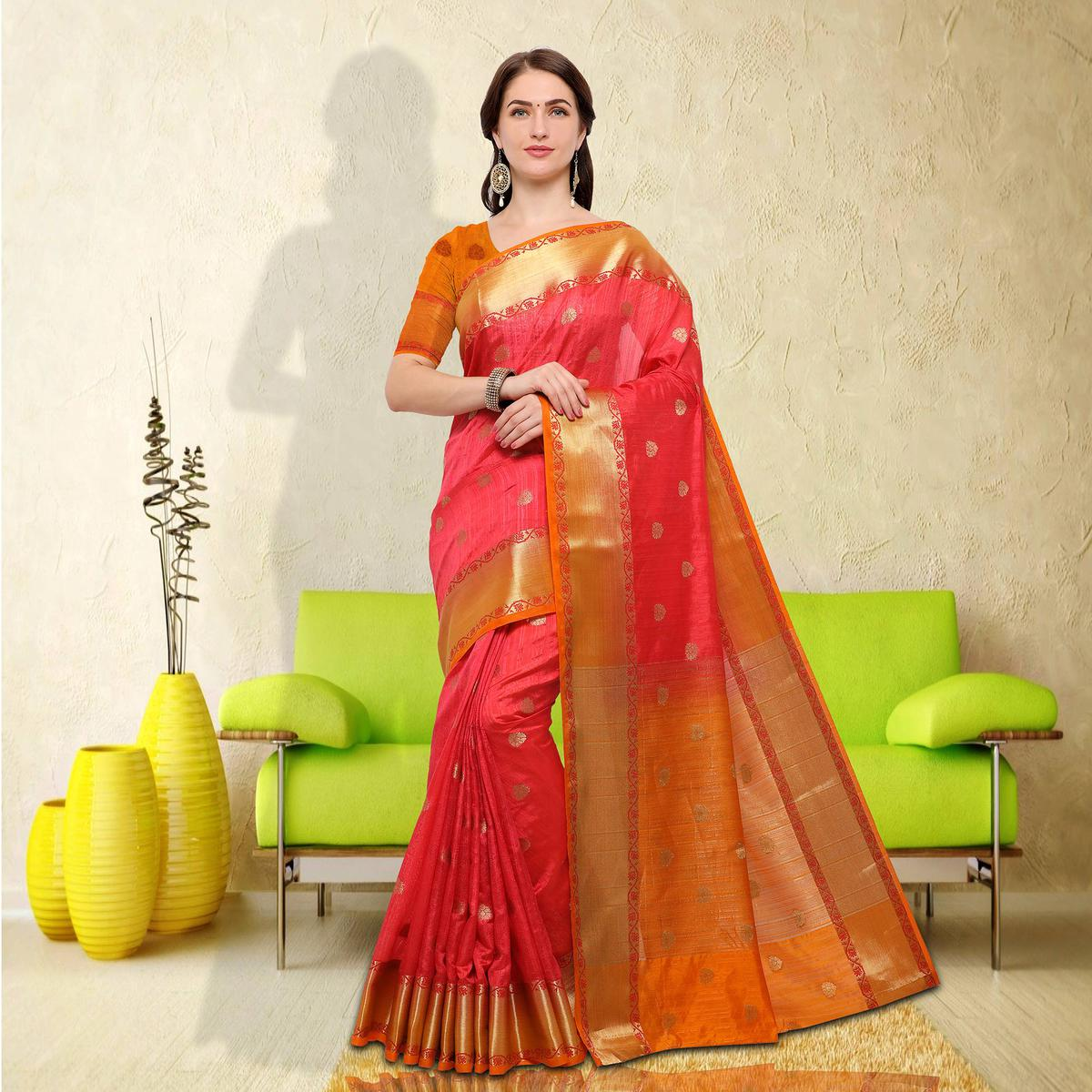 Attractive Peach-Yellow Colored Festive Wear Raw Silk Saree