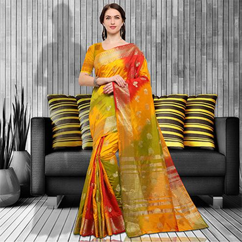Delightful MultiColored Festive Wear Raw Silk Saree