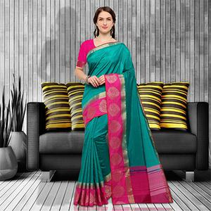 Gorgeous Teal-Pink Colored Festive Wear Raw Silk Saree