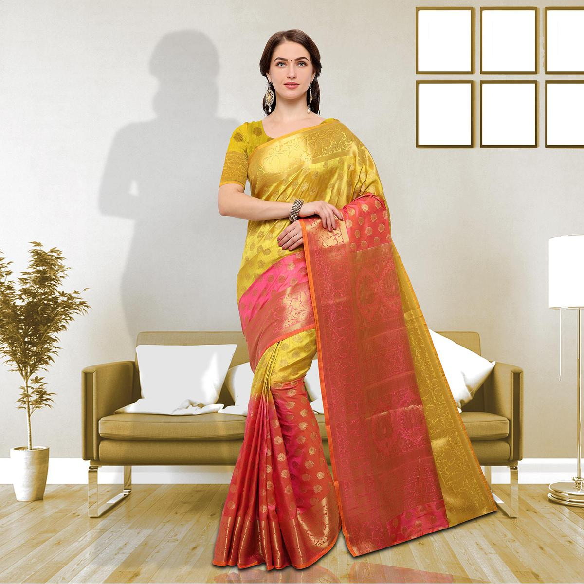 Spectacular Yellow Colored Festive Wear Raw Silk Saree