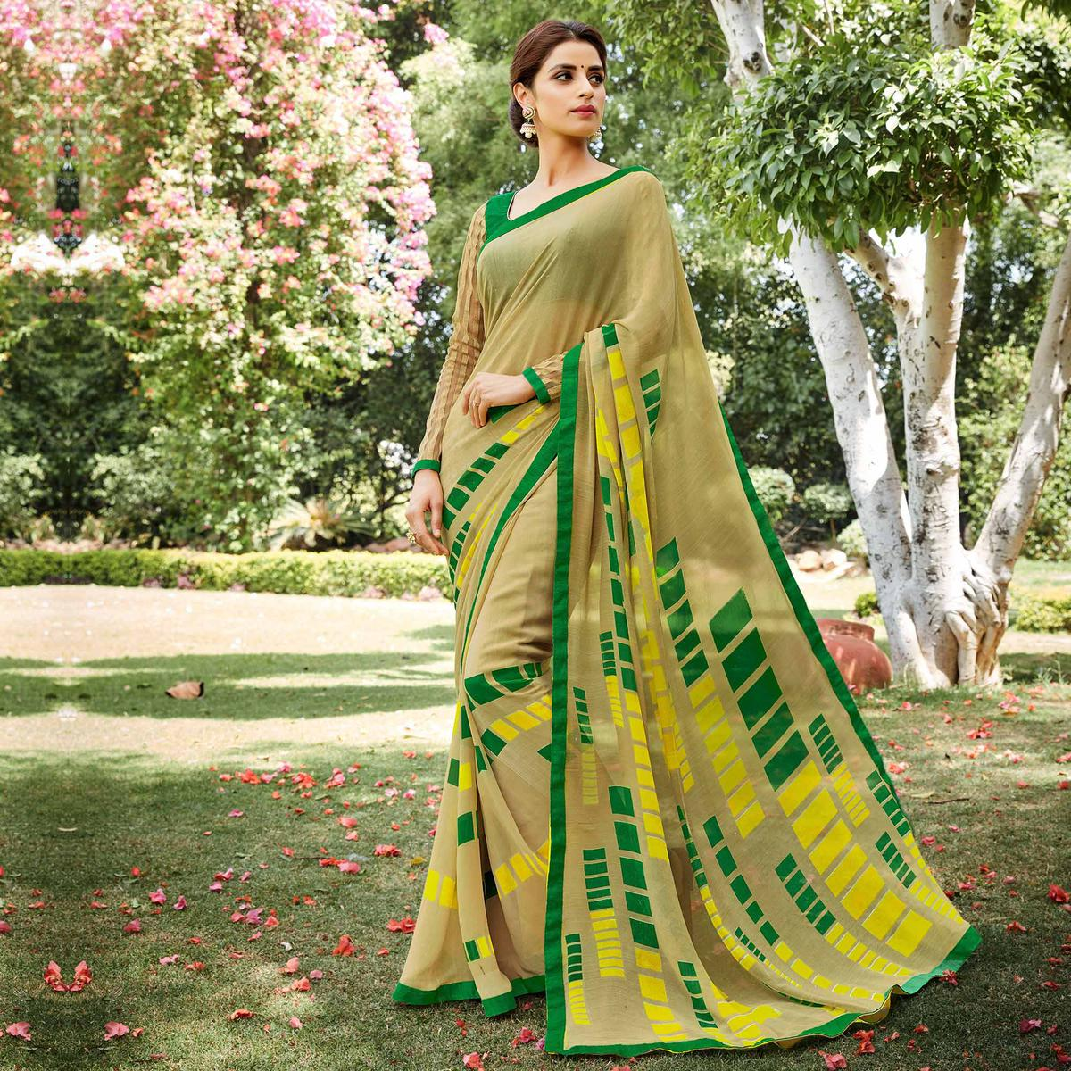 Golden Casual Wear Georgette Printed Saree