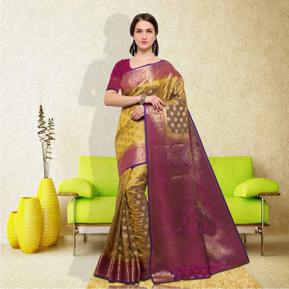 Appealing Yellow-Pink Colored Festive Wear Raw Silk Saree