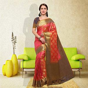 Marvellous Peach Colored Festive Wear Raw Silk Saree