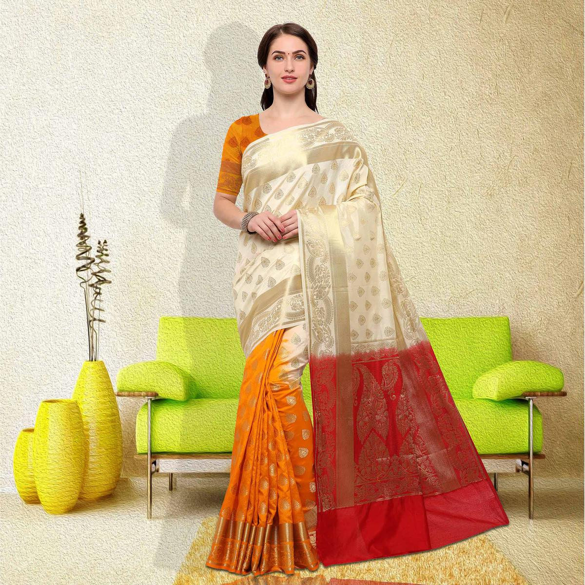 Elegant White-Yellow Colored Festive Wear Raw Silk Saree