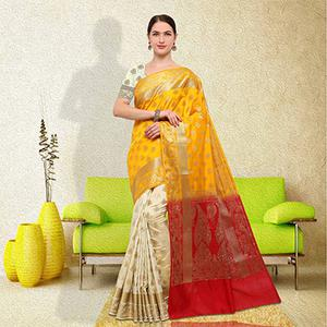 Graceful Yellow-White Colored Festive Wear Raw Silk Saree