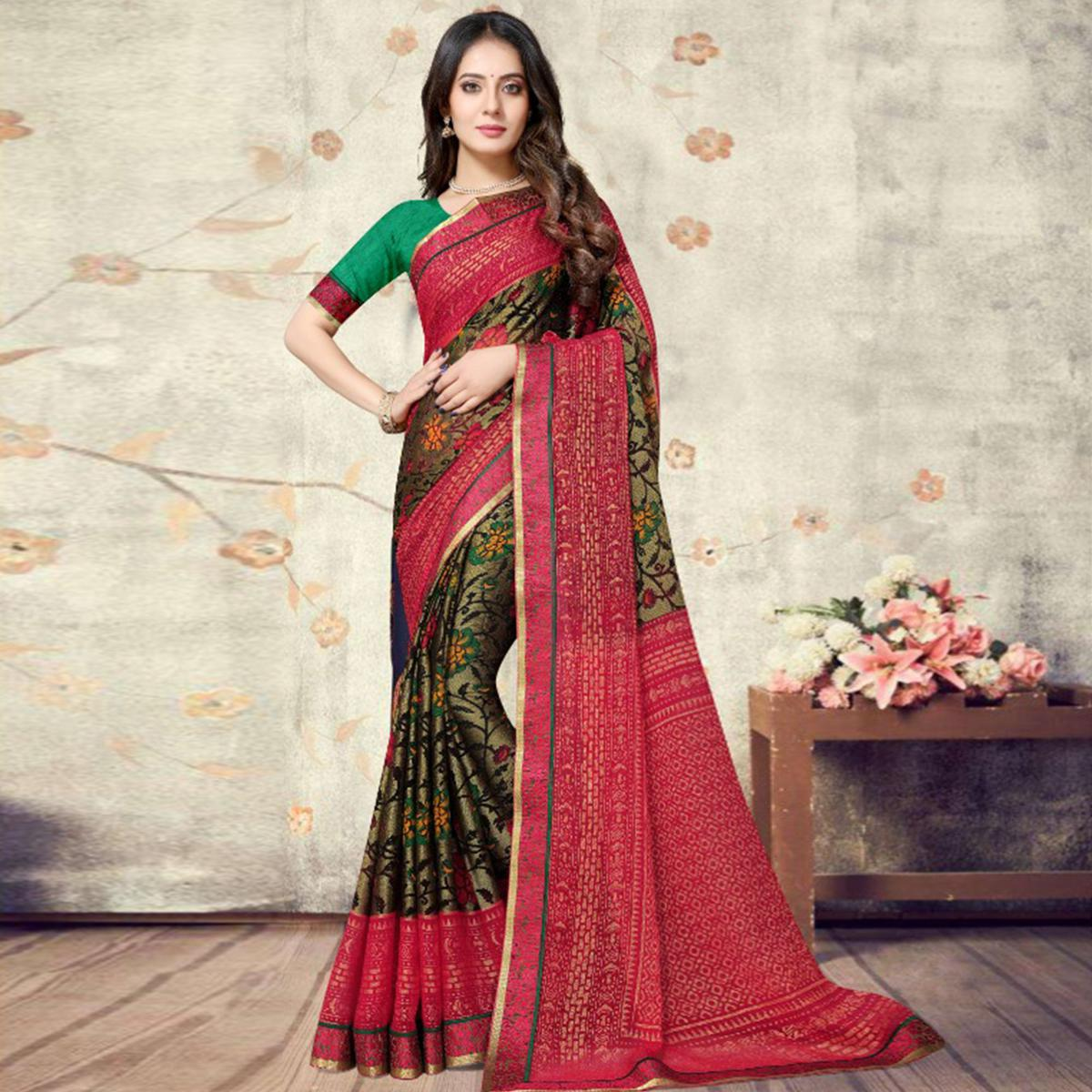 Prominent Green Coloured Partywear Printed Chiffon Brasso Saree