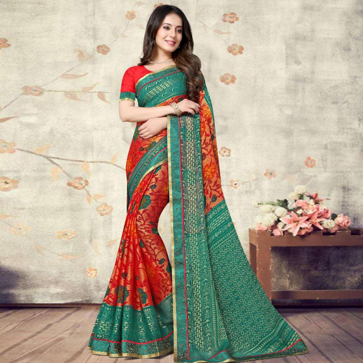 Groovy Red Coloured Partywear Printed Chiffon Brasso Saree