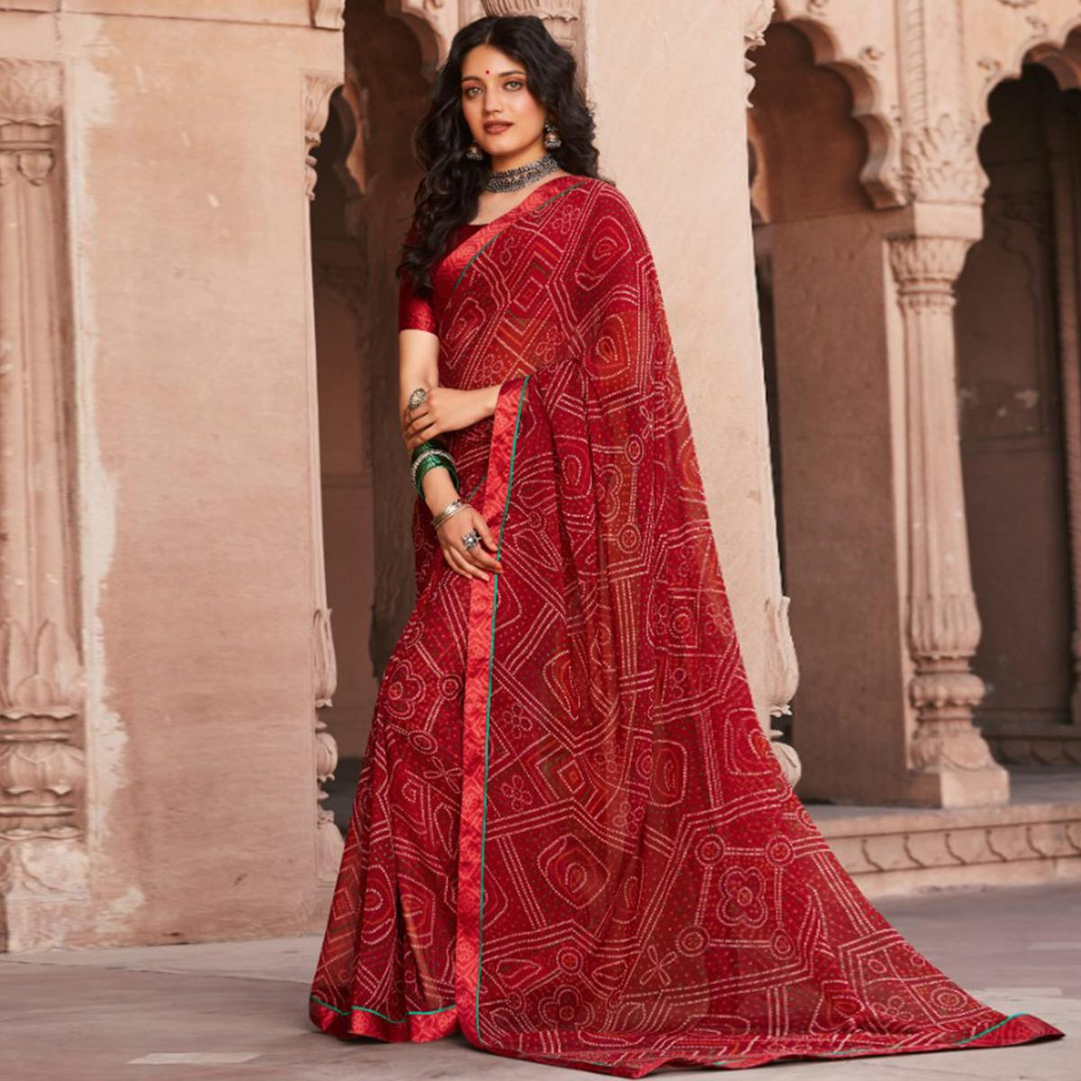 Hypnotic Red Coloured Casual Wear Printed Georgette Saree