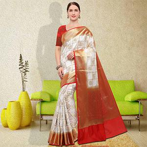 Elegant White Colored Festive Wear Raw Silk Saree