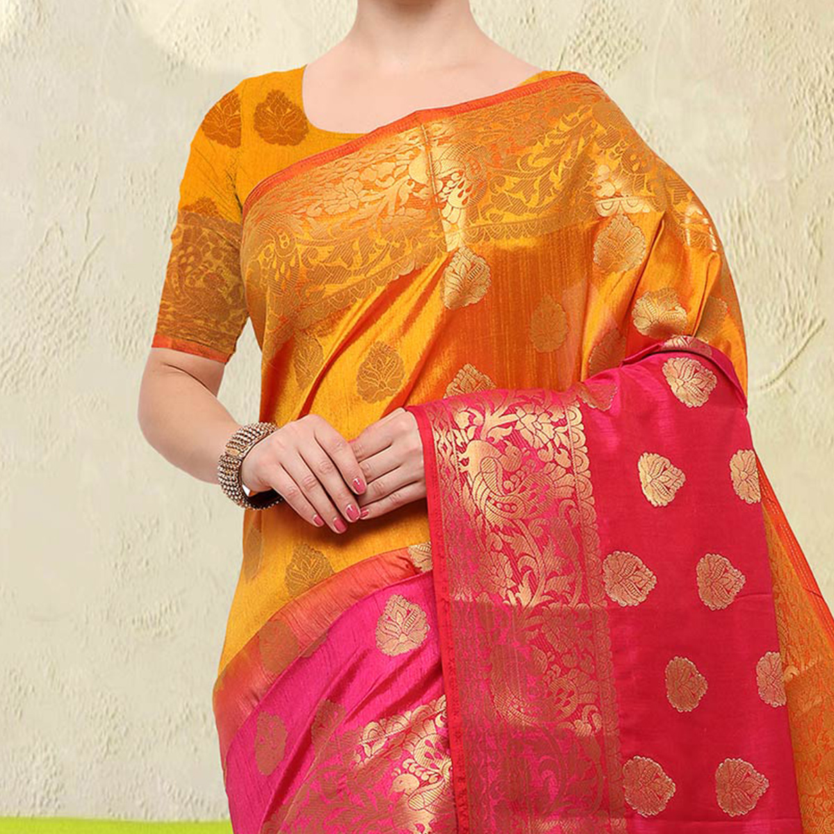Amazing Yellow-Pink Colored Festive Wear Raw Silk Saree