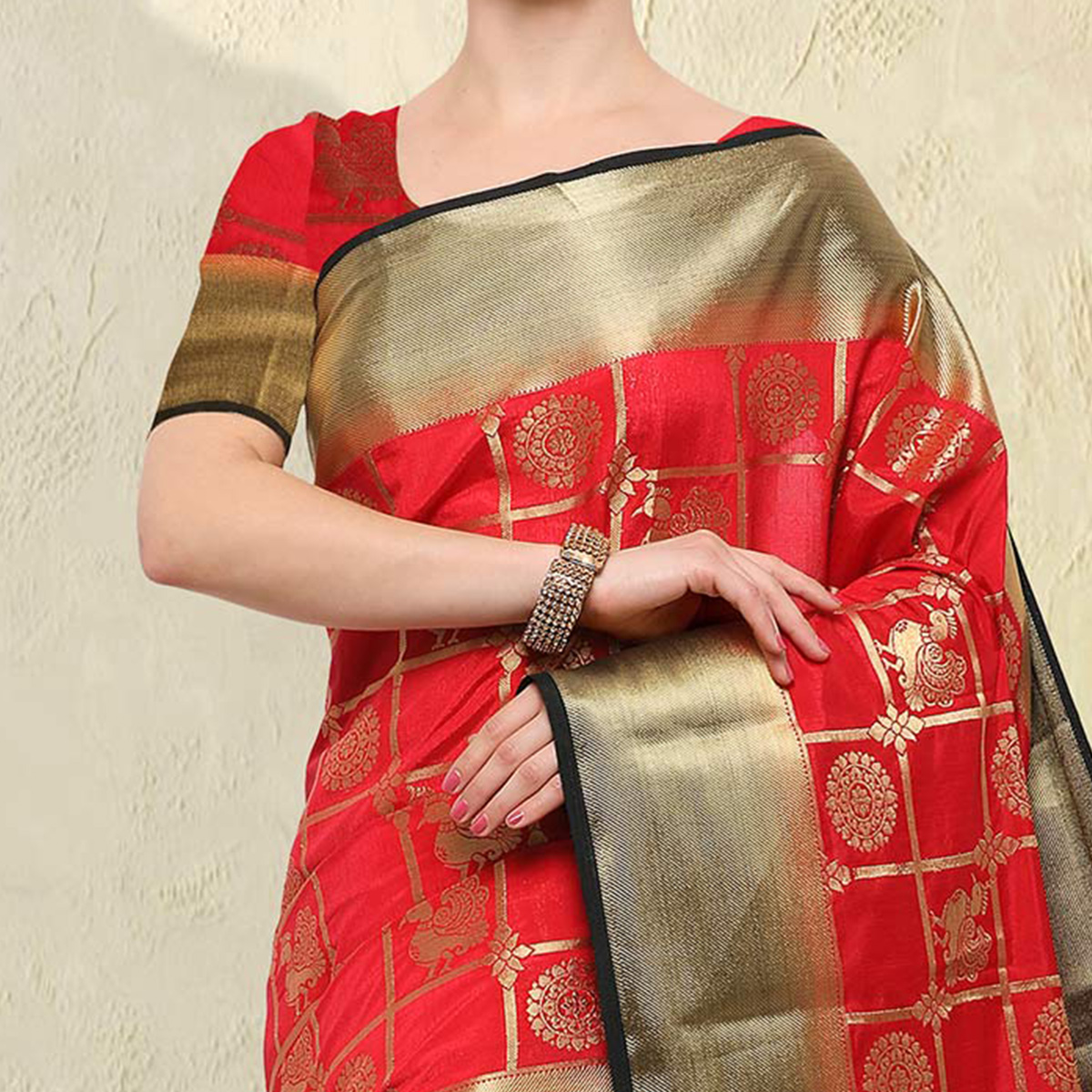 Lipstick Red Colored Festive Wear Raw Silk Saree